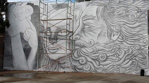 's Werelds grootste muurschildering getekend met potlood