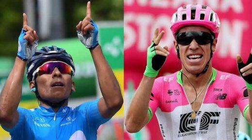 Nairo Quintana en Rigoberto Urán pakken ritzege