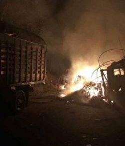 ELN verbrandt vijf vrachtwagens op snelweg in Antioquia